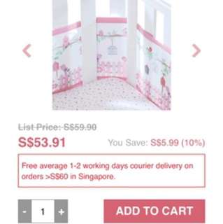 Breathablebaby breathable mesh crib liner pink baby cot bumper