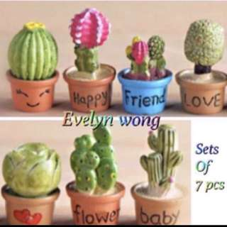 ☘ Terrarium Accessories / Miniature / scrapbooking, gardening deco, photo frame deco, home deco, figurine etc - Set Of 7 Mini Flower Pot With Wording