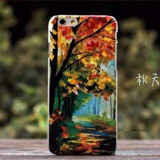Apple Iphone 6 plus 秋天 立體浮雕油畫 超薄 手機硬殼 手機套 原價$78 特價$60