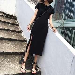 Black Coloured Slit Designed Korean Style Long Dress