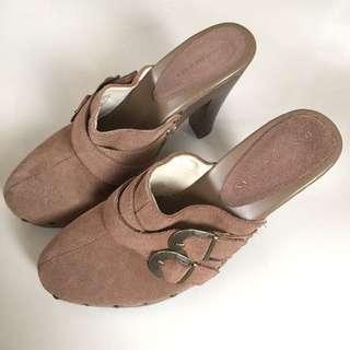 Dana Buchman Hazelton Desert Suede Leather High Heel Mules Shoes