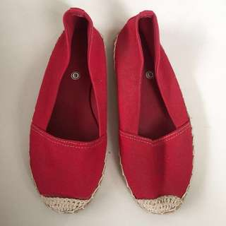 Red Espadrille-like Shoes