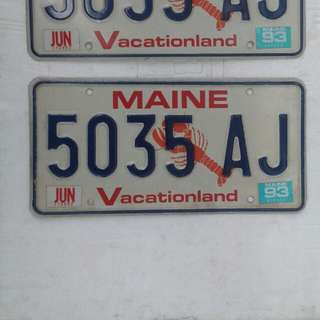 Only 1 vintage Maine auto plate # 5035AJ  available