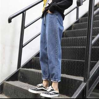 (S~5XL) Jeans female spring and autumn feet pants bf wind loose harem pants