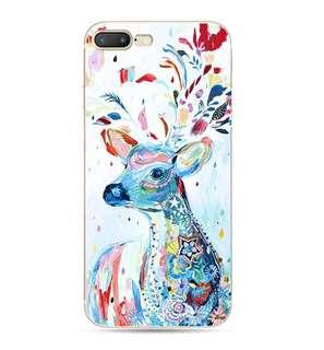 Apple Iphone 7、7 plus 西方藝術 油畫 馴鹿卡通浮雕 超薄透明邊 硅膠 原價$98 特價$88