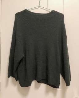 EARTH MUSIC & ECOLOGY || dark green loose fit sweater