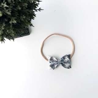 Silver glitter bow nylon headbands for Newborn and Toddler,