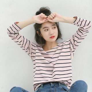 Korean style pink blue stripe T-shirt