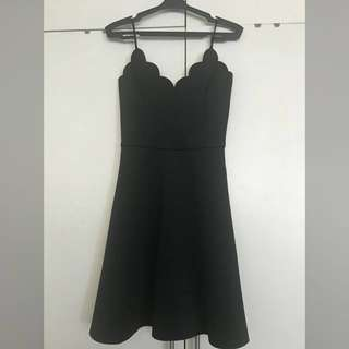 Black Cocktail Dress with Scalloped Sweetheart Neckline: KINDLY READ DESCRIPTION WELL