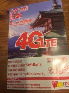日本旅遊4G LTE 咭