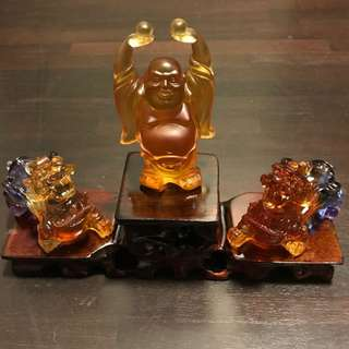 古法琉璃貔貅一对+弥勒佛 一套 SALE SET OF 3 OLD GLAZED PI XIU AND HAPPY BUDDHA