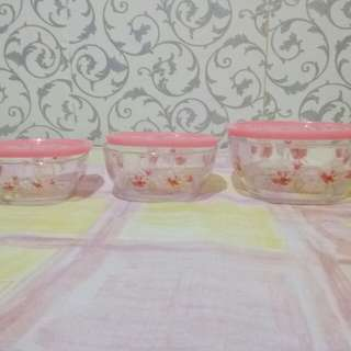 3 pcs Glass Bowl Set with Cover