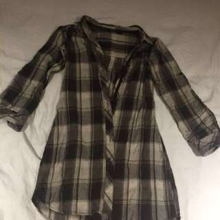 Plaid button up dress