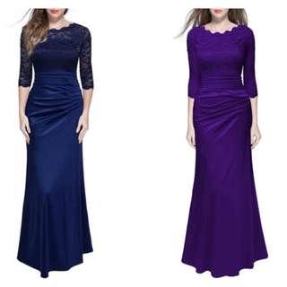 BRIDESMAID LACE LONG DRESS