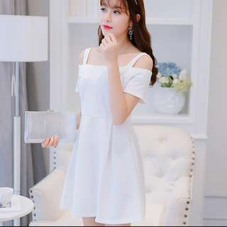 [BNIB] Korean-style White Off Shoulder Dress