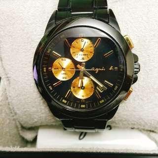 【正品】Agnes b. 經典黑金3眼鋼手錶 (75%新)