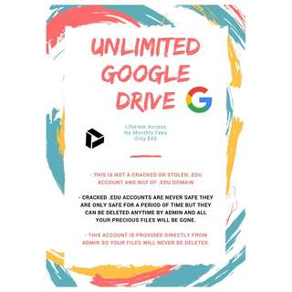 Unlimited Google Drive | Lifetime Guarantee | From Admin