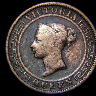 1901年英屬錫蘭(British Ceylon)棕櫚樹1仙(Cent)銅幣(英女皇維多利亞像, 最後一款)