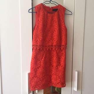 Topshop orange lace dress 假兩件背心連身裙
