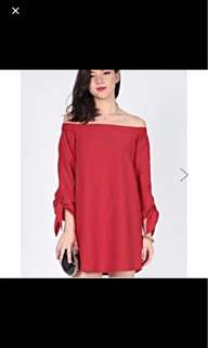 Love Bonito Colly Off Shoulder Dress Red in XS