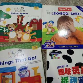 Set of 4 Board books. Fisher price, baby Einstein included.