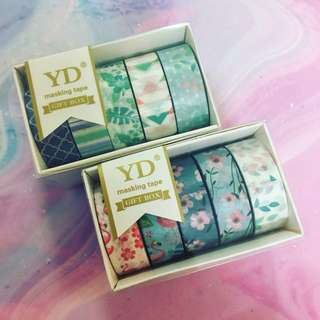 floral and leaves washi tape set