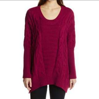 Maroon Red Knitted Sweater Dress