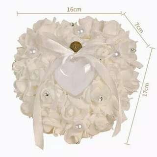 Ring Pillow/Berkat Heart-shape Rose Flowers Valentine's Day Gift Ring Box Romantic Wedding Jewelry Case Ring Bearer Cushion Holder Decor