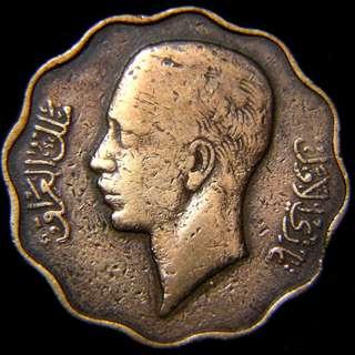 1938年伊拉克王國(Kingdom of Iraq)伊皇加齊像10費爾(Fils)花形銅幣