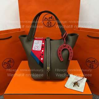 100% Authentic & Brand New Hermes Picotin 22 Etoupe Taurillon Clemence GHW A Stamp