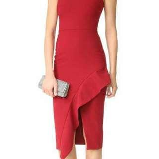 ELEGANT SLEEVELESS SLIT DRESS RED