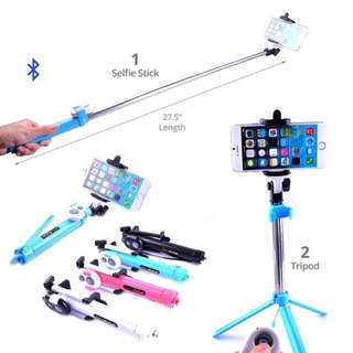 Portable Selfie Stick with Mini Tripod