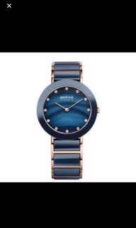 Bering Ceramic Rose Gold Navy Blue Mother of Pearl Watch