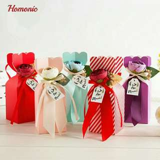 Berkat mini paper flowers wedding bowknot Candy Cookie Cake Bag accessories Wedding Party fake candy decorations