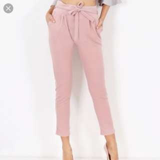 Light pink paperbag pants