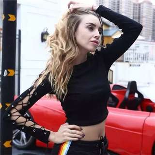 [PO] lace up ribbon long sleeves crop top