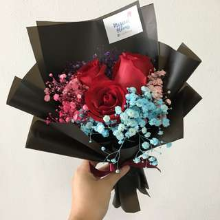 Red Rose Bouquet with Baby Breath / Anniversary Bouquet / Birthday Bouquet
