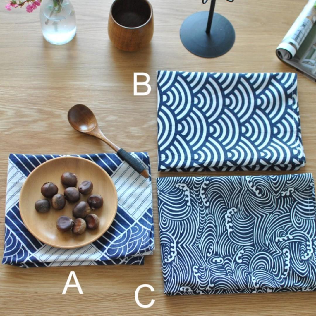傳統日式餐墊/壽司餐巾/風呂棉麻布藝家居蓋布/茶巾/拍照背景布