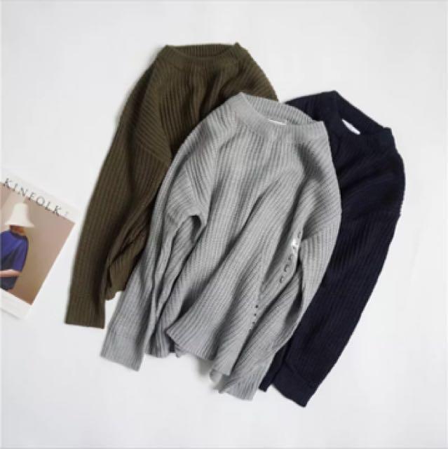 深藍針織毛衣