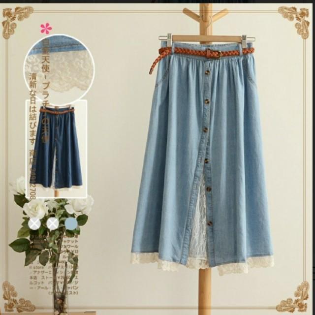 日系蕾絲藍長裙