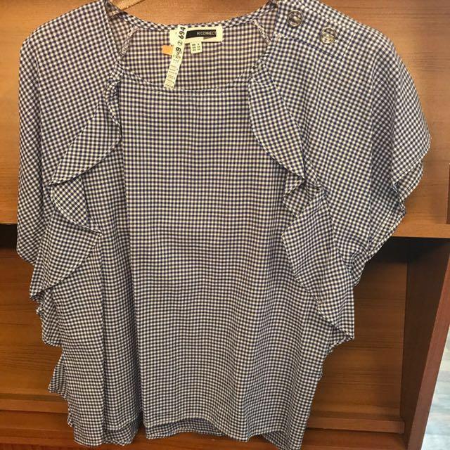 韓國時尚設計師款襯衫藍色細格