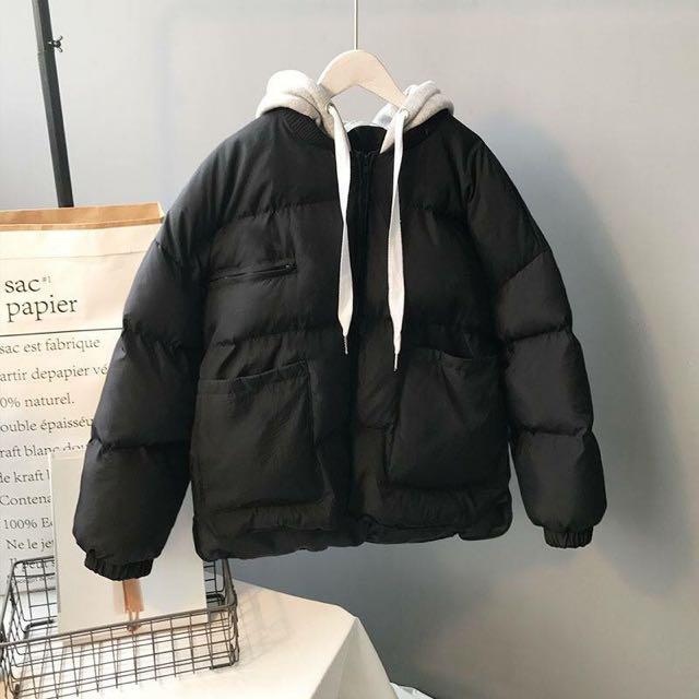 韓國連線 休閒連帽飛行短版外套/羽絨外套/鋪棉外套