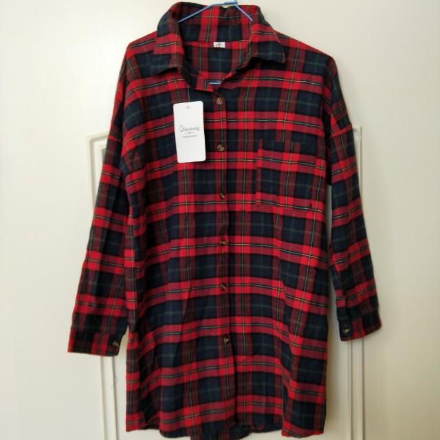 韓國設計 蘇格蘭 襯衫 有口袋 落肩款設計七分袖 經典款 早春