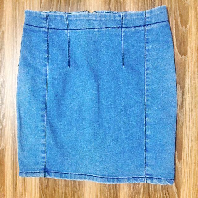 正韓 淺藍 牛仔短裙 窄裙 包裙 #新春八折