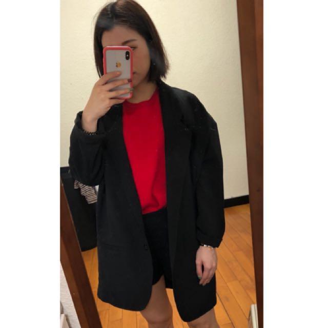 全新 iROO oversized 黑色西裝外套