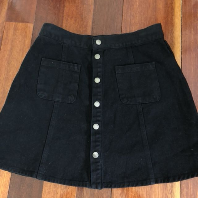 All About Eve Black Button Up Denim Skirt