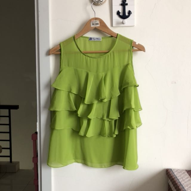 Atasan hijau ruffles green top blouse