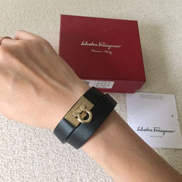 AUTHENTIC FERRAGAMO Gancini Wrap Around Leather Bracelet