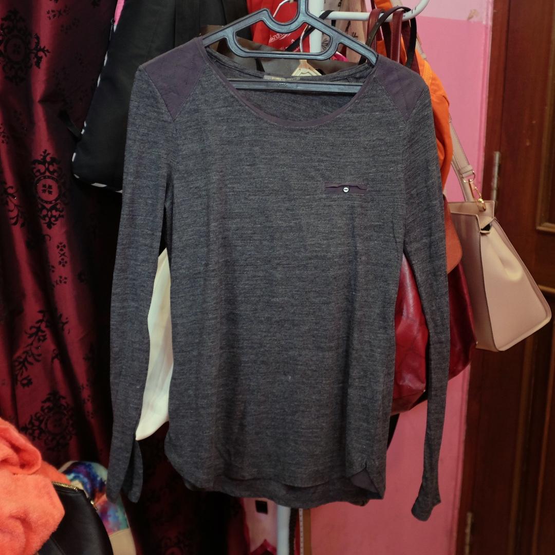 Bershka grey long sleeve shirt