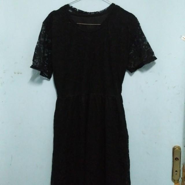 Black Midi Brokat Dress